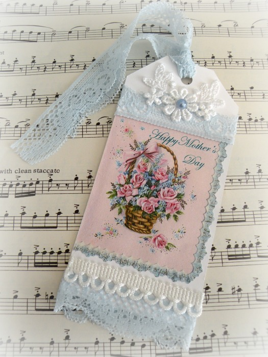 Vintage Basket of Roses for Mothers gift tag