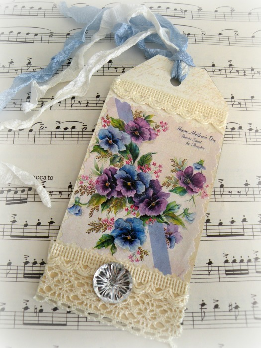 Mothers Day Pansies Gift tag