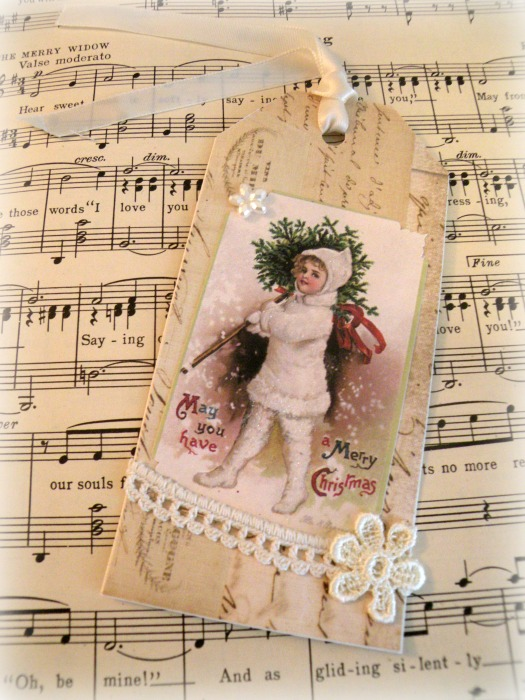 Vintage Clapsaddle snow girl tag