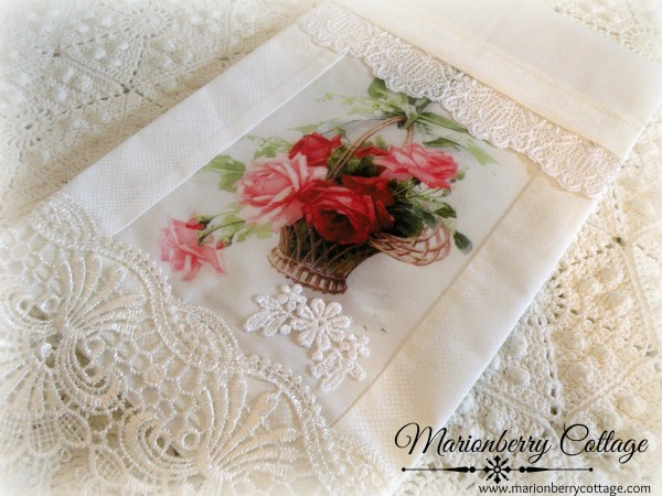 Guest Tea towel basket of roses