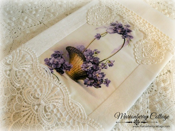 Guest Tea towel Basket of Violets