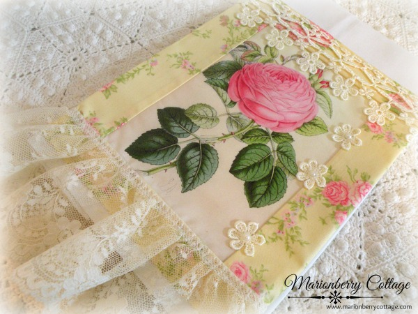 Guest tea towel single pink rose