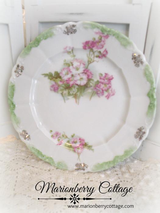 Vintage Germany pink roses porcelain plate