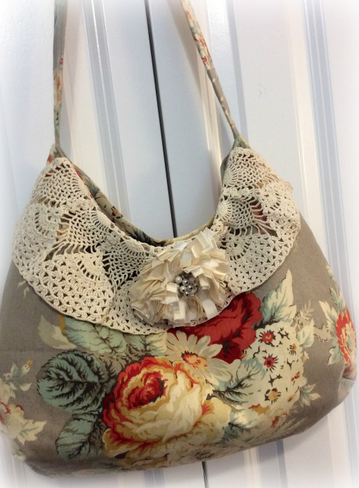 Waverly Roses Bouquet Hobo handbag