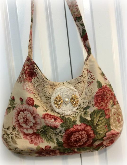 Victorian garden roses hobo handbag