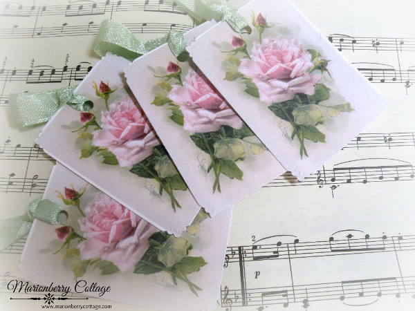 Gift tags Vintage Catherine Klein pink roses