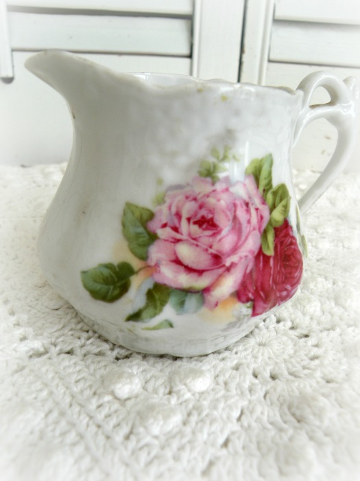 Vintage Germany pink roses porcelain little creamer