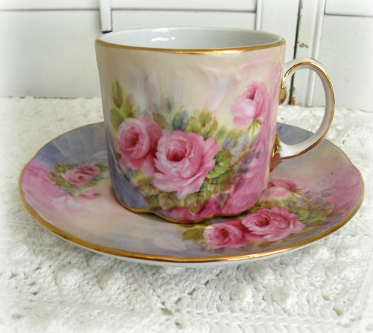 Collectible pink roses china teacup and saucer