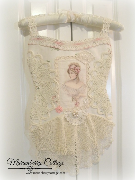 Romantic lace French Bustier Lingerie Bag pink roses on ivory