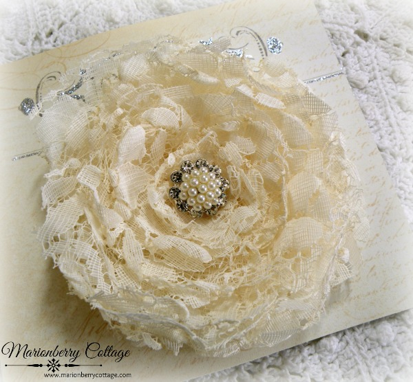 Ivory Lace curled rose brooch