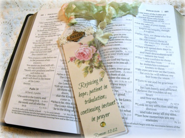 Christian Bible Bookmark Rejoicing in hope