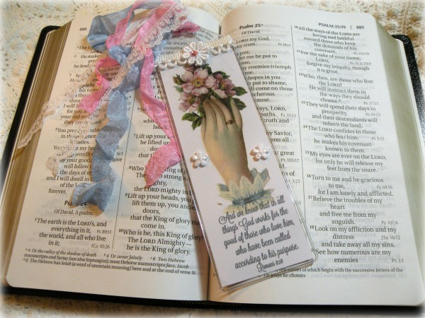 Christian Bible Bookmark Victorian hand verse