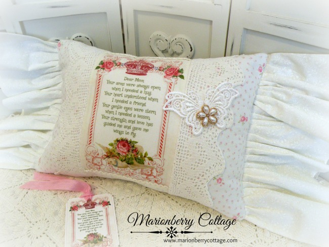 Mother's Day KEEPSAKE pillow roses & poem for Mom