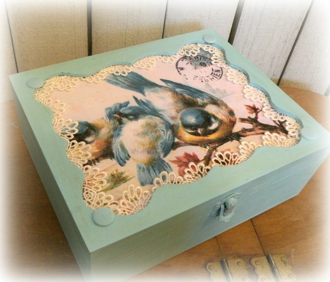 Vintage Blue Birds wedding/shower card or display box
