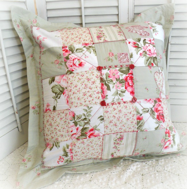 Cottage pink roses and birds Patchwork pillow sham