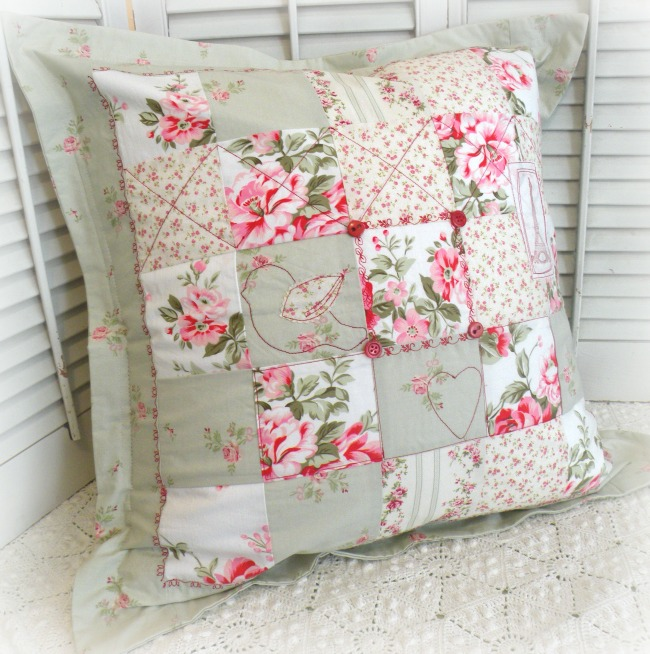 French Cottage pink roses Patchwork pillow sham