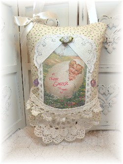 Easter Vintage Greeting scented hanging pillow