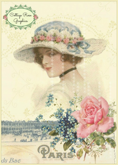 Vintage Paris bonnet art print