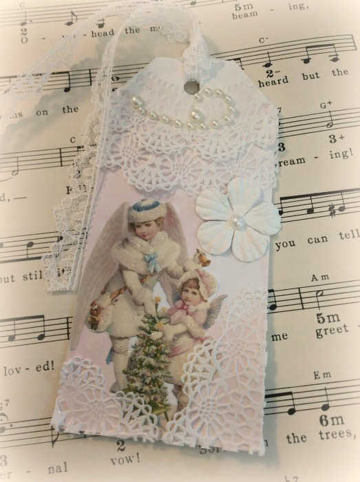 Victorian Christmas Angels gift tag
