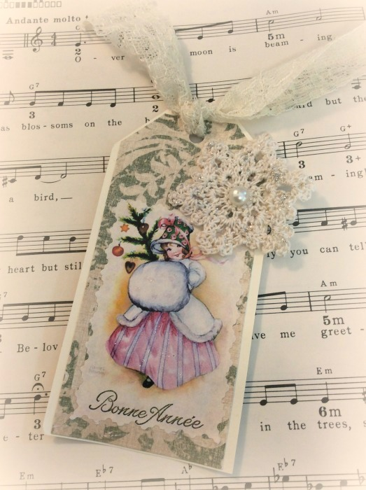 Vintage French Christmas Bonne Ainee tag