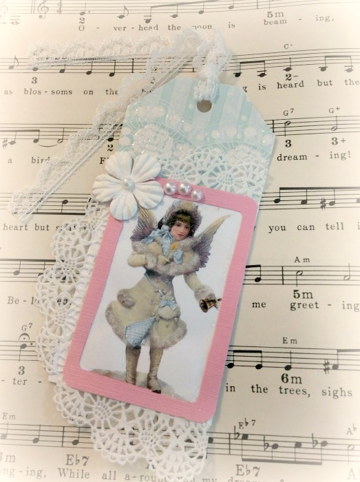 Vintage snow angel gift tag
