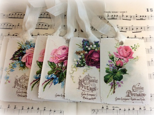 Gift Tags Vintage French Chocolat Pourlain Roses