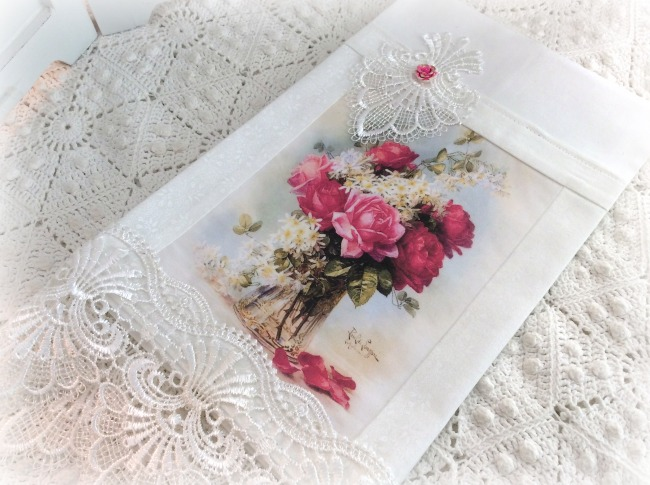 Guest Tea towel bouquet of roses