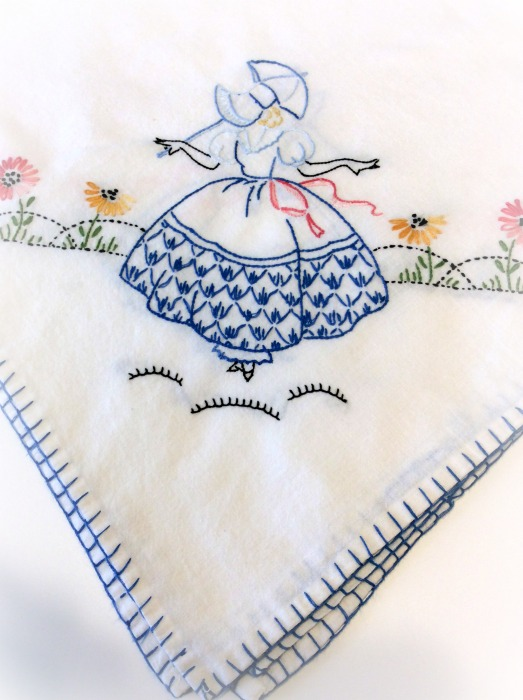 "Vintage embroidery Southern Belle 32"" square cloth"