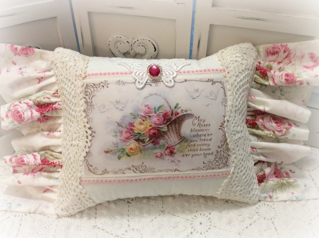 KEEPSAKE pillow May Roses Bloom reversible