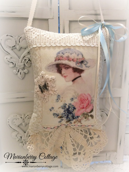 Vintage Rose Lady Keepsake Pillow w/gift tag and sachet