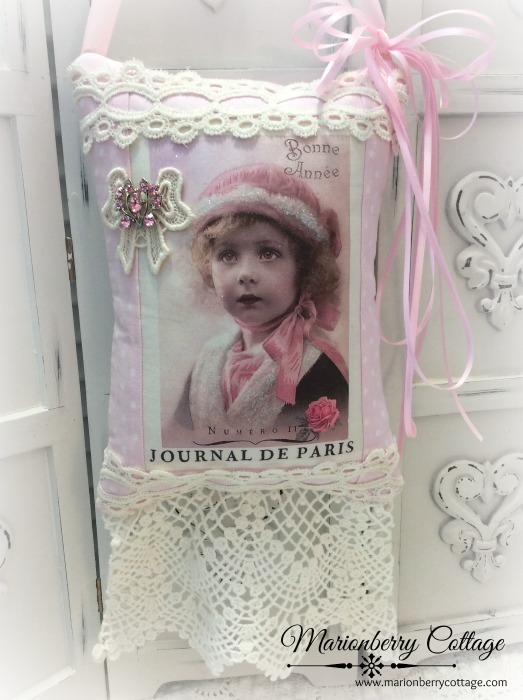 Vintage French Photo Keepsake pillow w/matching tag and sachet