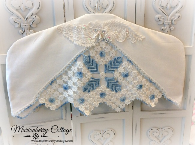 Vintage blue and white crochet hanger cover