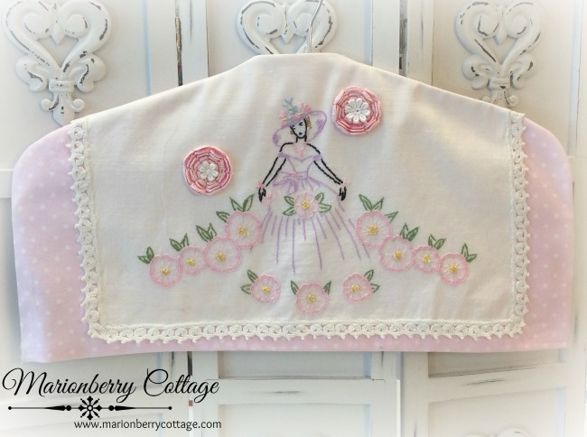 Southern Belle Hanger cover vintage embroidery