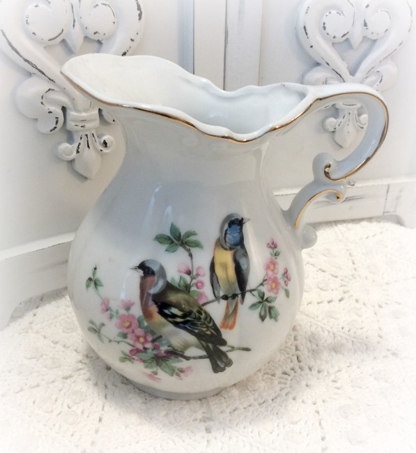 Vintage birds milk pitcher