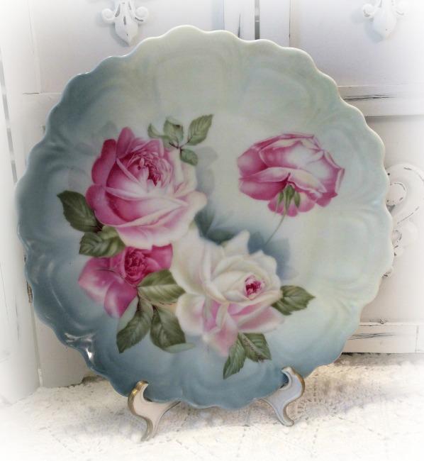 Vintage Roses Bavaria Germany porcelain plate