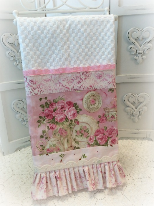 Pink Tea and Roses  kitchen towel