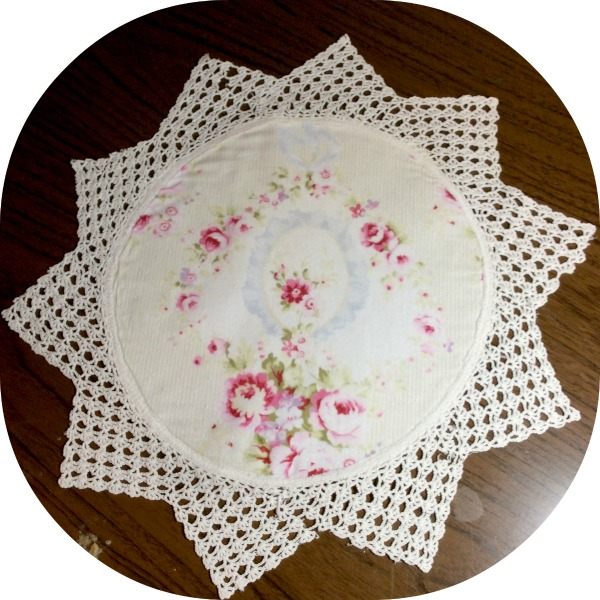 Vintage Star round Crochet doily pink roses and ribbons