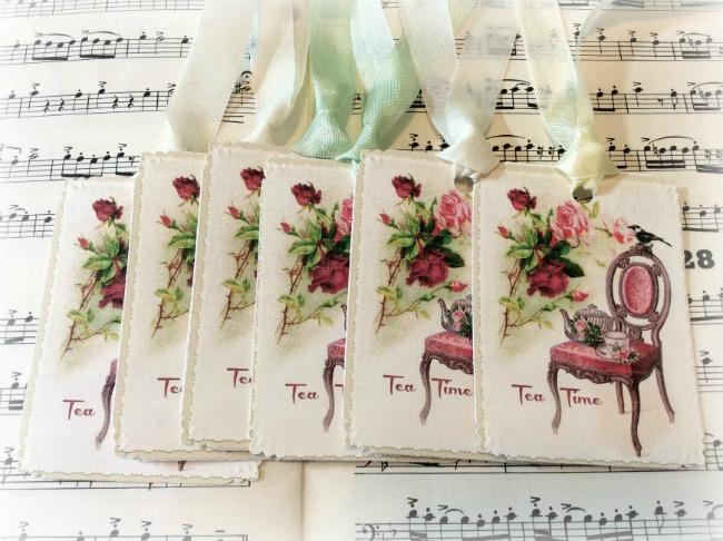 Gift tags Victorian Tea Time chair & bird