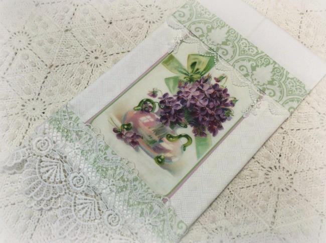 Guest Tea towel vase of violets