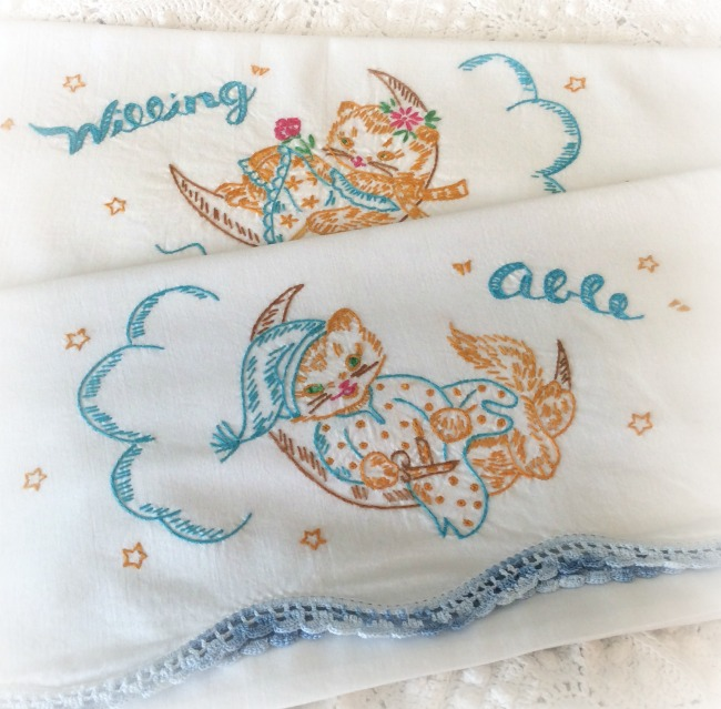 Hand embroidery vintage pillowcases