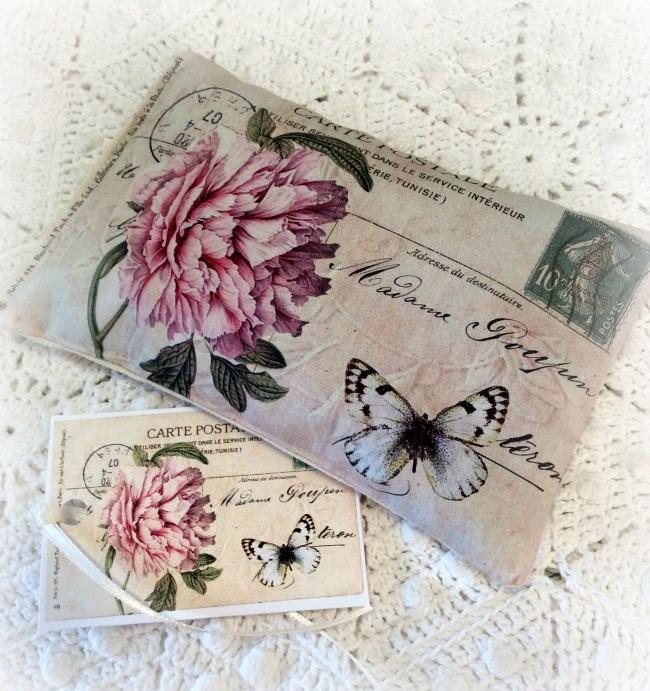 Vintage Postcard Lavender Sachet pink dahlia