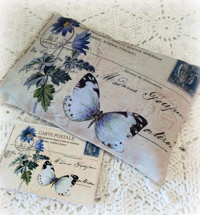 Vintage Postcard Lavender Sachet Blue Butterfly