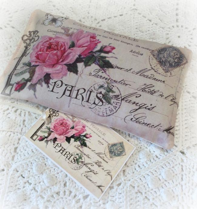 Vintage Postcard Lavender Sachet Paris Pink Roses