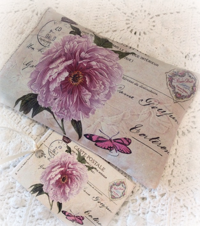 Vintage Postcard Lavender Sachet Peony
