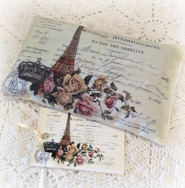Vintage Postcard Lavender Sachet Eiffel Tower