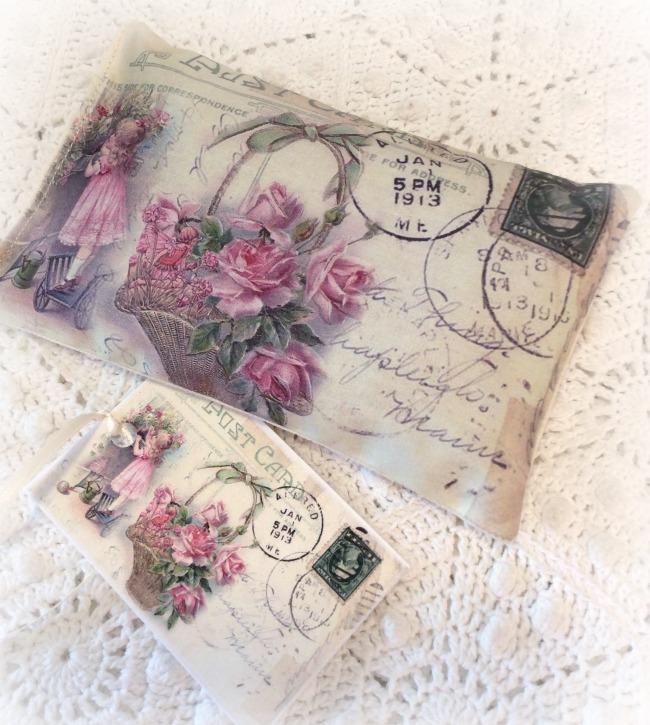 Vintage Postcard Lavender Sachet Basket of Roses
