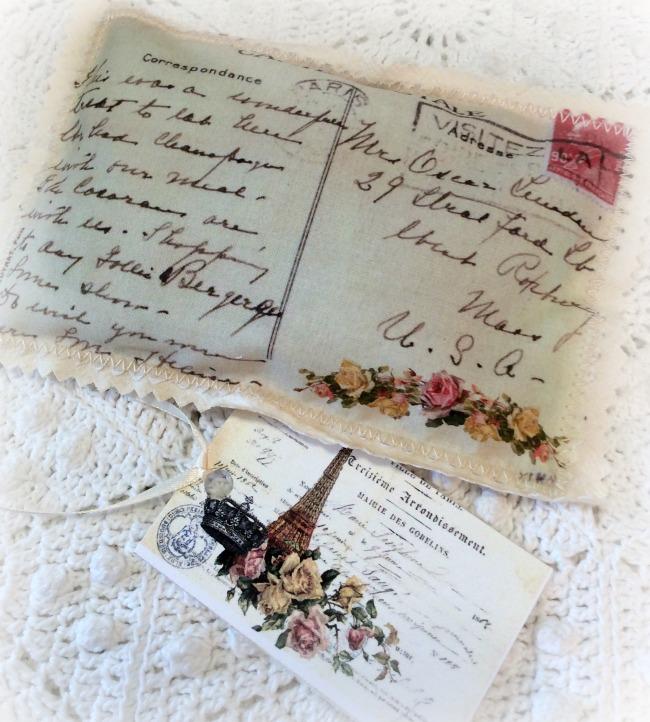 Vintage Postcard Lavender Sachet handwriting