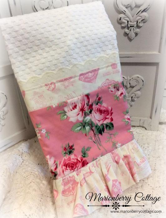 Barefoot Pink Rose Kitchen towel