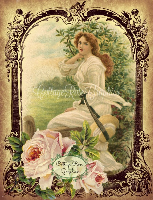 Vintage Garden Lady on the Fence