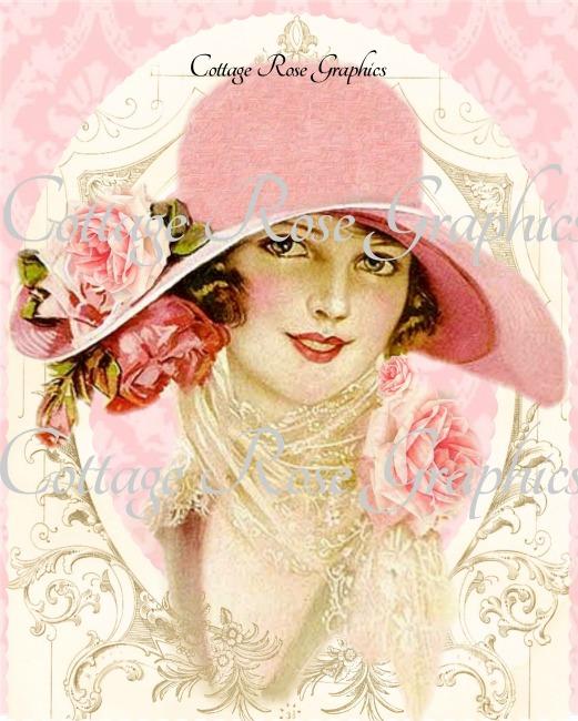 Vintage Pink Hat Lady art print